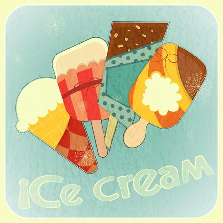 冰淇凌减速火箭的卡片 - 盖子冰淇凌菜单例证
