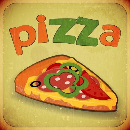 pizzeria label: Men� de la tarjeta del vintage - Sello de la pizza retro