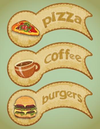 eating fast food: vendimia etiquetas de comida r�pida - la comida en la ilustraci�n de fondo grunge