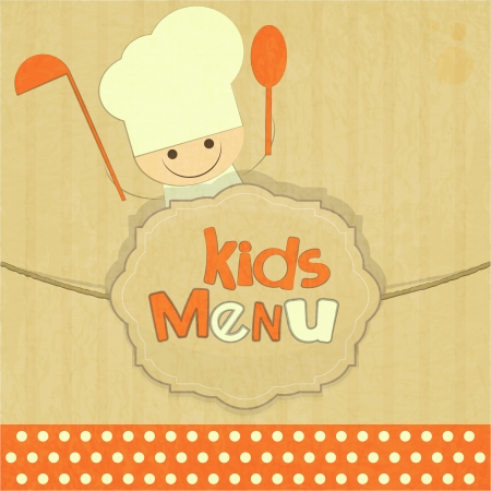 gourmet meal: Design of kids menu with smiling chefs in Retro Style illustration