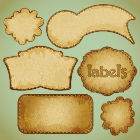スクラップブッキング: レトロなラベル設定の図  イラスト・ベクター素材