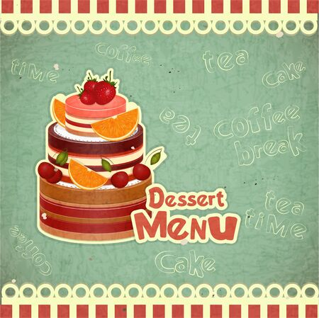 Vintage Cafe or Confectionery Dessert Menu in Retro style Stock Vector - 15094602