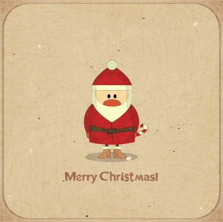 Santa Claus on vintage background, Merry Christmas postcard in Retro style  Stock Vector - 15094600