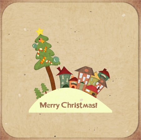 Christmas retro card with houses and text Merry Christmas, postcard in retro style  Vector