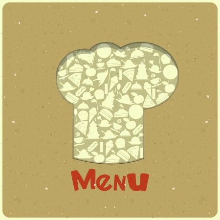 gourmet meal: Vintage Menu Card Designs with chefs hat in Retro Style - vector illustration