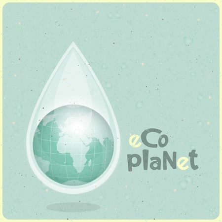 ecology concept Water planet, planet in drop of water on paper background, Retro Poster - vector illustration Vector