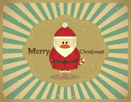 Santa Claus on grunge background, Merry Christmas postcard in Retro style - vector illustration Vector