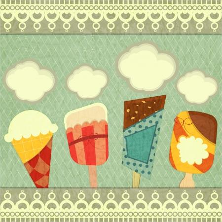 Ice cream retro price - Cover Ice Cream Menu Vector Illustration