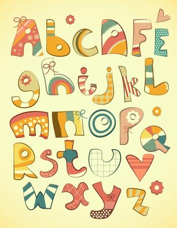 abecedario: Alfabeto del dise�o en estilo divertido doodle de cartas ilustraci�n AZ