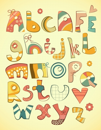 bright alphabet: Alphabet design in fun doodle style letters A-Z illustration