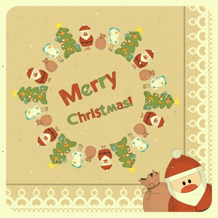 Santa Claus, snowman and Christmas tree on vintage background, Merry Christmas postcard in Retro style