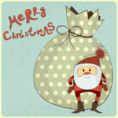 Christmas cards with cartoon Santa and bag with gifts - New Year postcard in Retro style - vector illustration Vector