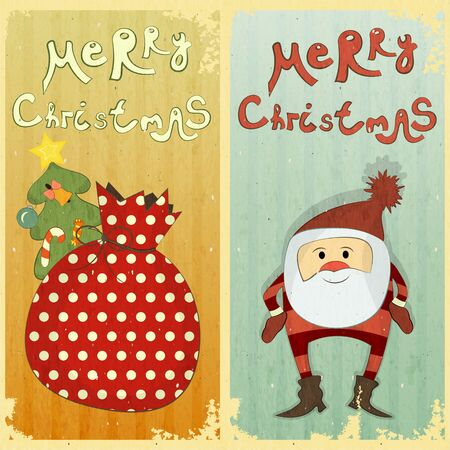 Set of Christmas card - two postcard in Retro style - vector illustration Stock Vector - 15324124