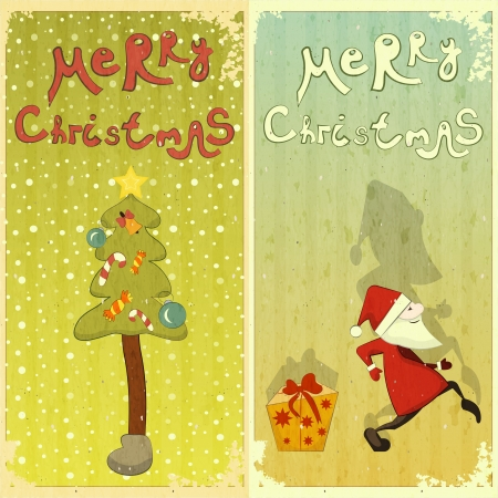 Vintage Set of Christmas card - two postcard in Retro style - vector illustration Vector