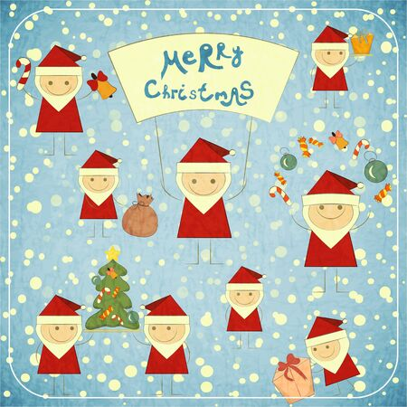 Christmas card with Santa Claus on New Year background - Stock Vector - 15324123