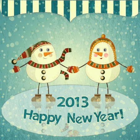Christmas card - Two snowmen on ice - postcard in retro style  Vector