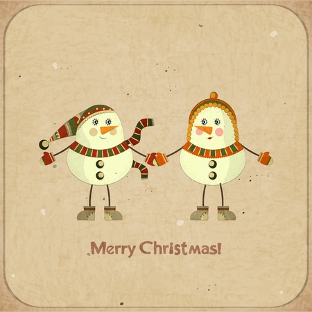 Christmas card - Two snowmen on a retro background - postcard in retro style  Vector