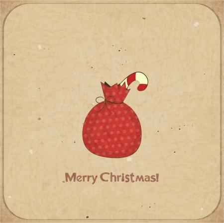 bolsa de regalo: Navidad retro postal con bolsa de regalo en estilo de la vendimia con el lugar para el texto - ilustraci�n vectorial