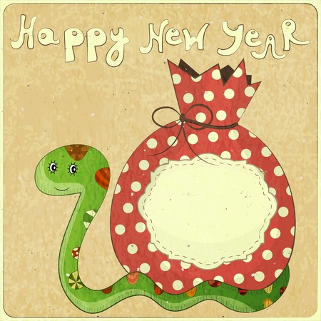 year of the snake: New Year Card design - symbol of the year, snake with a bag of gifts - vector illustration