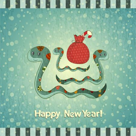 a snake in a bag: New Year Postcard design - symbol of the year, snake with a bag of gifts - vector illustration