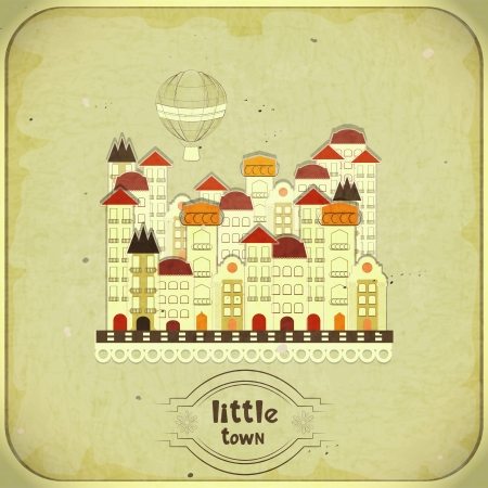 dirty house: Retro card - cartoon little town on grunge background - vector illustration