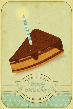 retro birthday card - a piece of cake with a candle on vintage background - vector illustration Vector