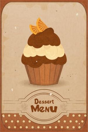 dessert muffin: Vintage dessert menu - a muffin with orange on retro background - vector