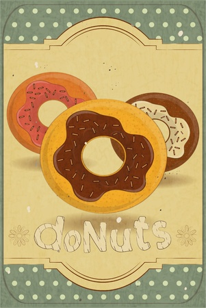 donut shop: Vintage postcard, vertical cover menu - donuts on vintage background
