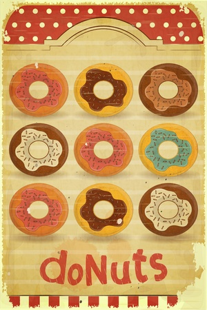 Cover menu - donuts on vintage background  Vector