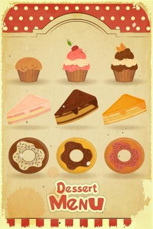menu de postres: Men� Postre Vintage - pasteles sobre fondo retro Vectores