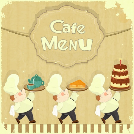gourmet meal: Cafe Menu Card in Retro style - cooks brought  dessert