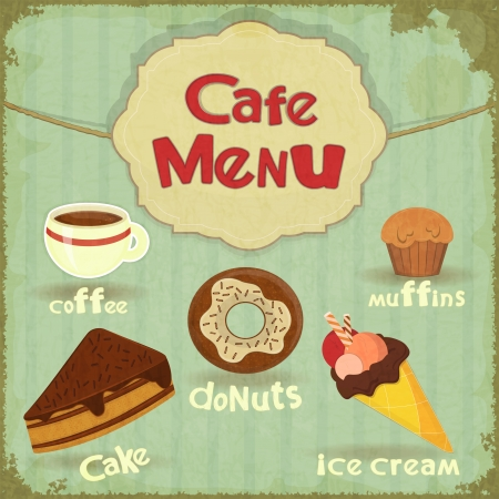 Vintage Cafe Menu - pastry and coffee on retro background -  illustration Vector