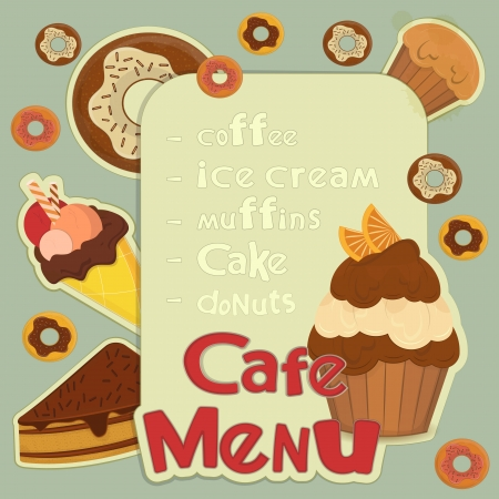 Design Cafe Menu - pastry on retro background with place for price -  illustration