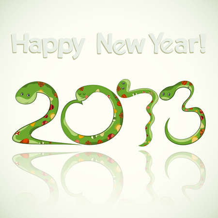 Year of the snake design - data 2013 made from green cartoon snakes on white background - vector illustration Stock Vector - 15651894