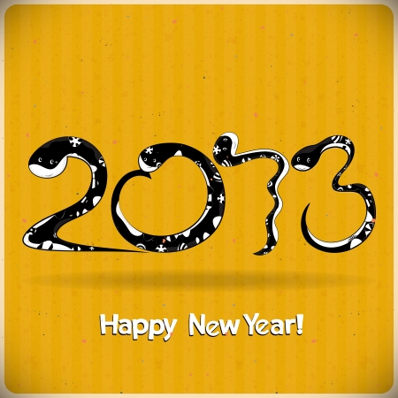 Year of the snake design - data 2013 made from black snakes on yellow background - vector illustration Vector