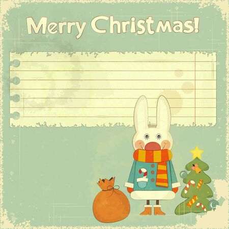 Christmas card with white hare and the Christmas tree in retro style, with place for congratulations - illustration Stock Vector - 15701307