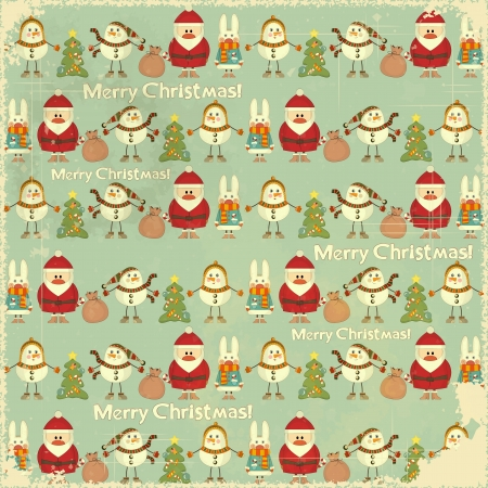cartoon santa: Christmas Vintage background. Signs of Christmas: Santa Claus, snowman, white rabbit and Christmas tree on retro blue background. illustration.