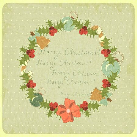Old Christmas postcard. Christmas Wreath on vintage background. illustration. Vector