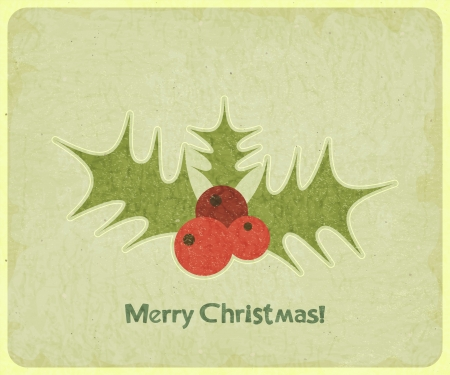 Old Christmas postcard. Mistletoe on vintage background. illustration. Vector