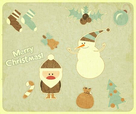 Old Christmas postcard. Santa Claus, snowman and Christmas decorations on a Vintage background. illustration. Stock Vector - 15701317