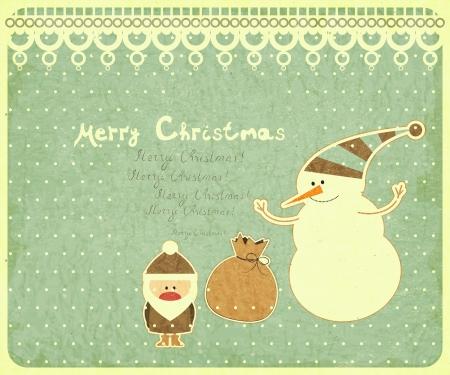 bolsa de regalo: Antigua tarjeta postal de Navidad. Pap� Noel, mu�eco de nieve y bolsa de regalo en un fondo de la vendimia. ilustraci�n.