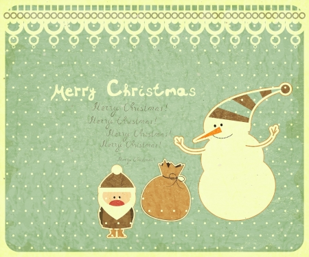 Old Christmas postcard. Santa Claus, snowman and gift bag on a Vintage background. illustration. Vector