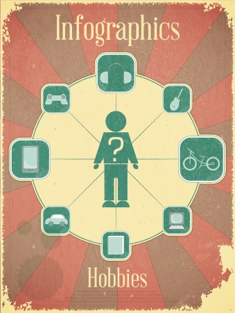 Retro Placard - Vintage infographics set - Hobbies, Graph for presentation Vector