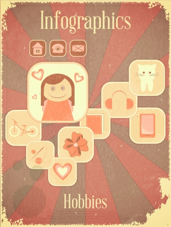 Retro Placard - Vintage infographics set - Girls Hobbies, Graph for presentation Vector