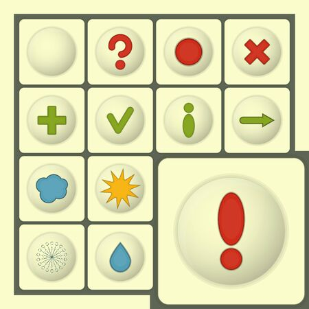 exclamation point: Set of Icons - white buttons with symbols Illustration