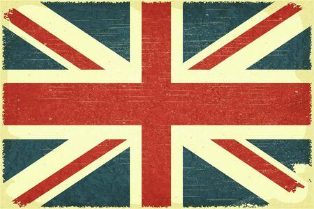 grunge union jack: Grunge poster - British flag in Retro style
