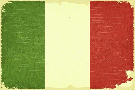 bandera italiana: Cartel Grunge - bandera italiana en estilo retro Vectores