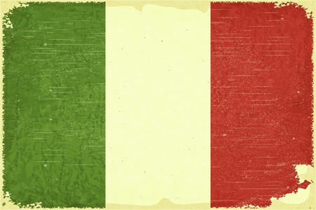 Grunge poster - Italian flag in Retro style  Vector