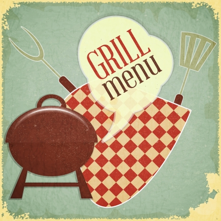 grilled: Retro Design Grill and Barbecue Menu - illustration