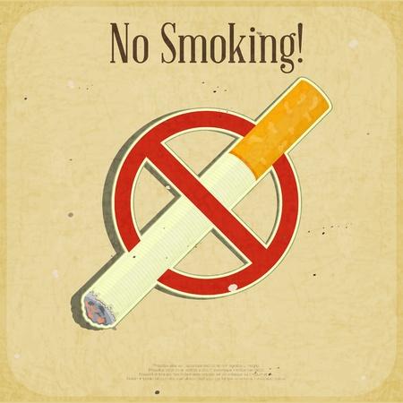 prohibido fumar: Retro poster - La Señal De no fumadores - ilustración